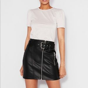 Express High Waisted Belted Faux Leather Skirt